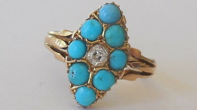 Beautiful Victorian 1893 Antique 15ct gold Turquoise/Diamond ring, sz 9, 4.71 gm