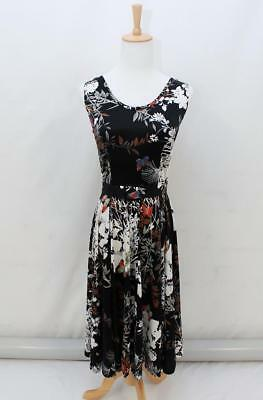 VINTAGE 70s Retro Black White Floral BUTTERFLIES BELTED SUMMER Dress AUS 8 XS