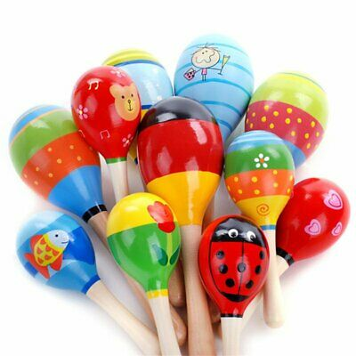 1/5/10Pcs Wooden Maraca Baby Child Musical Instrument Rattle Shaker Party To LCU