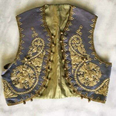 Antique Ottoman Vest, Belt And Pocket 1900s With Metal Embroidery On Felt