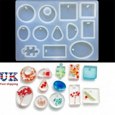 12X Silicone Mould Mold for Resin Round Necklace Jewelry Pendant DIY Making tool