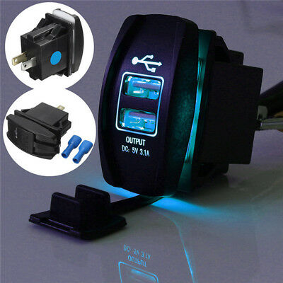 Dual USB 3.1 Power Charger Carling ARB Rocker Switch Blue LED Light Car Boat 12V