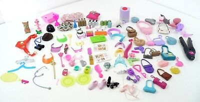 Barbie Doll Accessories Cooking , Bags, Tiara Crowns, Food, Brushes, Hats, Glass
