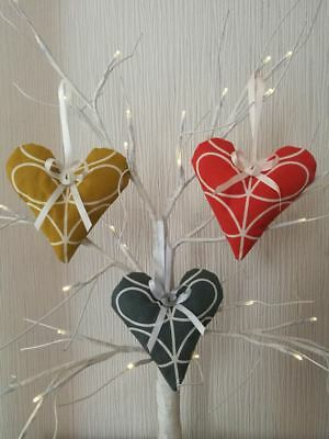 Shabby Chic Handmade Hanging Hearts in various colours of Orla Kiely fabric
