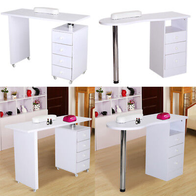 White Nail Art Desk Manicure Table Salon Technician Workstation w/without Wheels