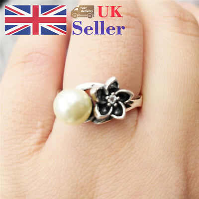 Vintage Women 925 Silver Plated Artificial Pearl Wedding Bar Party Classic Ring