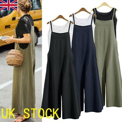 Womens Sleeveless Cotton Dungaree Jumpsuits Cargo Pants Trousers Overalls Loose