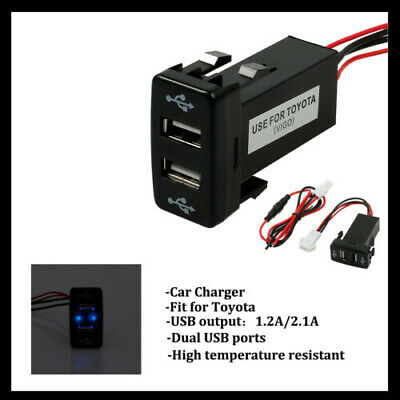 Charger Adapter Twin Dual Double 2 USB Port 12V In Car Socket Lighter For Toyota