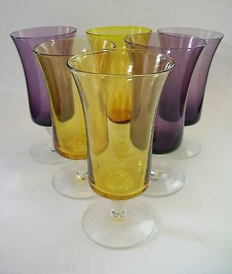 Vintage SET 6 PARFAIT GLASSES Sundae Cocktail Wine Tall Purple Gold c1970s