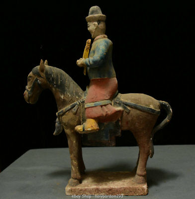 "15"" Chinese Old antique Tang Sancai Porcelain Dynasty People On Horse Sculpture"