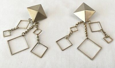 Brass Colored Geometric Squares and Pyramids Chandelier Earrings 3-1/2""