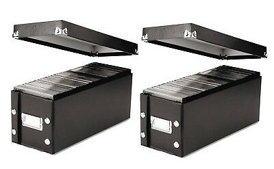 Two CD DVD Storage Boxes w/ Lid & Label Holds 26 Standard 60 Slim Jewel Cases