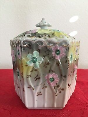 Asian Porcelain Jar (Antique Chinese China Japan Flower Rose Hexagon Container)