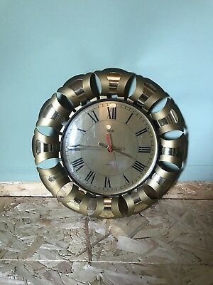 Vintage Retro Smiths Gold Wall Clock Sun