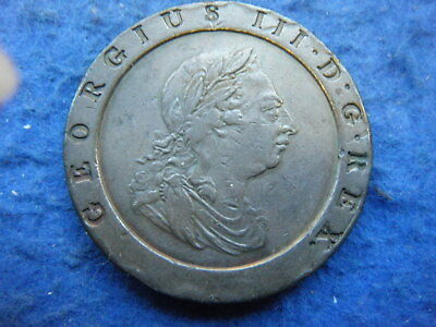 """George Iii: 1797 Copper """"Cartwheel"""" Twopence In Nice Condition - Rare Coin!"""