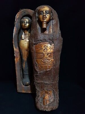 "ANCIENT EGYPTIAN ANTIQUES Coffin Sarcophagus With Mummy Statue 12"" EGYPT BC"