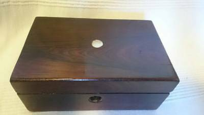 Antique Victorian Trinket Box,rosewood Jewellery Case, Marquetry,Old wooden box