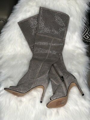 4c51e4358ca Vince Camuto Kamorina – Embellished Stiletto Over The Knee Boot - Beige  Size 8