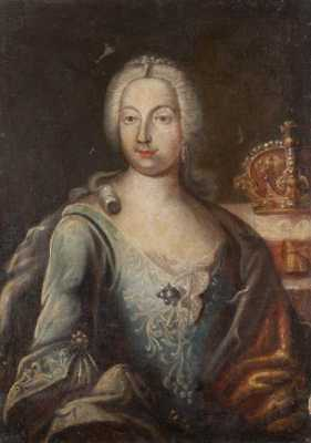 MUSEUM ACQUIRED ANTIQUE OLD MASTER, 18th C PORTRAIT PAINTING OF EMPRESS, c 1730