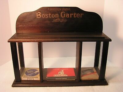 """ANTIQUE EARLY 1900's """"BOSTON GARTER"""" SMALL COUNTER DISPLAY CASE~3 BOXS/2 GARTERS"""