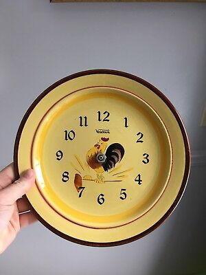 Vintage Stangl Yellow Rooster Wall Clock By Verichron - Needs New Hands