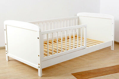 NEW WHITE- JUNIOR TODDLER  COT-BED 140x70  - INCLUDING FOAM MATTRESS