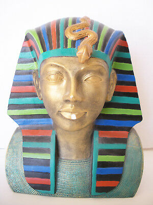 """Egyptian Ancient Pharaoh Bust Mask Home Decor 10""""H Figurine Statue"""