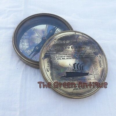 Brass Titanic Compass Vintage Marine Collectible Item Antique