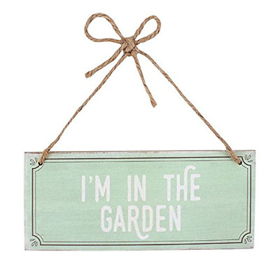 Wall Plaque Turquoise 'I'm In The Garden' Wooden Hanging Sign