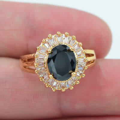 18K Yellow Gold Filled Oval Black Topaz Solitaire Engagement Ring Jewelry