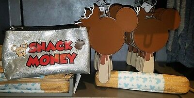 NEW Disney Parks Mickey Food Snacks Pouch Bag Set! Churro Ice Cream Snack Money
