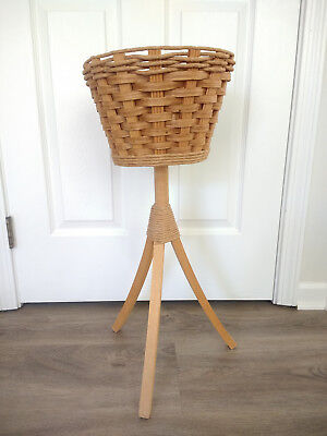 Vintage Wicker Wood Plant Stand Holder Planter Basket 3 Legged Tripod Stand Boho
