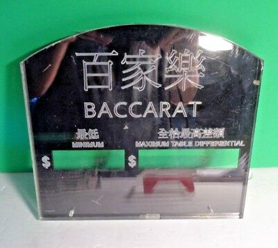 Casino Collectible Baccarat Min Max Betting Amounts Table Game Acrylic Sign
