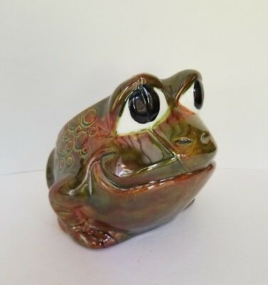 Vintage ceramic big eyed frog planter retro decor gardening kitsch