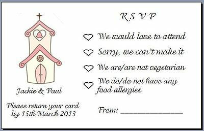 20 Small RSVP Cards to Accompany Invites with Envelopes - Church Design