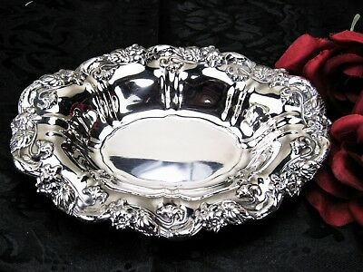 Vintage Silver Plate Oval Serving Dish Tray and Candy/Nut Floral Embossed Ornate