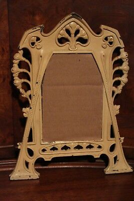 """vintage wrought iron """"shabby chic"""" art deco hanging frame, unusual, 5.5"""" x 3.75"""""""