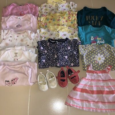 a25391f87ffb LOT OF 15 Baby Girls Newborn Clothes Gowns Pajamas Shoes NB   0-3 ...