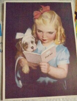 Antique Print Girl Puppy Learning By Doing First Aid Repro Victorian Gallery
