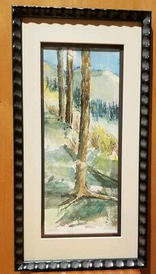 """""""The High Trail"""" Forest Landscape Original Watercolor Painting Signed Framed"""