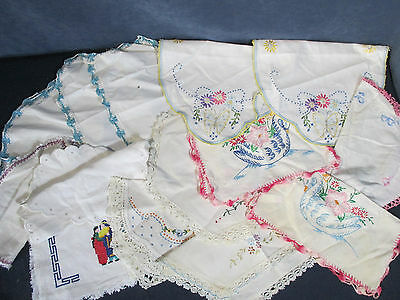 Doilies Dresser Scarves Vintage Embroidered Crochet Edge Lot of 14 Cutters Craft