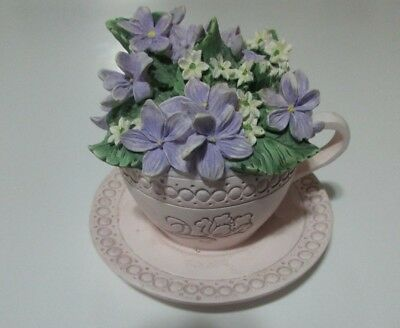 Ceramic February Tea Cup and Saucer Music Box Avon Vintage Working