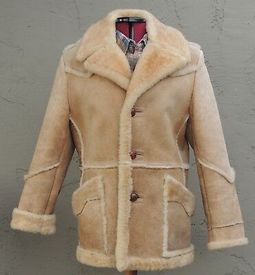 >>ll==California Ranch Wear==l> Shearling Marlboro Leather & Fur Coat Size ( L)
