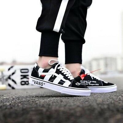 NEW   VIRGIL ABLOH OFF-WHITE Old Skool Vans CUSTOM Black Mens Read ... d248388642f3