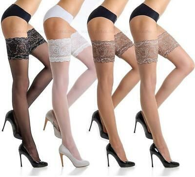 Fiore Luxurious Lace Top Quality Stay Ups Hold Up Stockings S M L 20 Den Denier