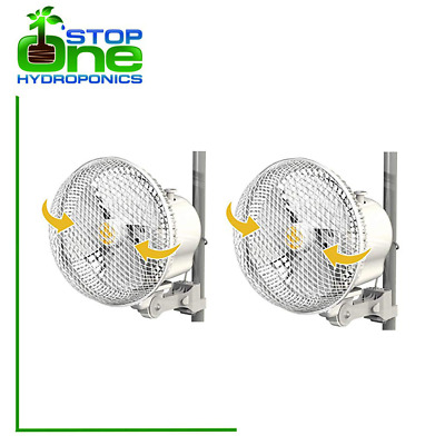 "2 X SECRET JARDIN 6"" MONKEY FAN 20w OSCILLATING GROW TENT CLIP ON FAN"