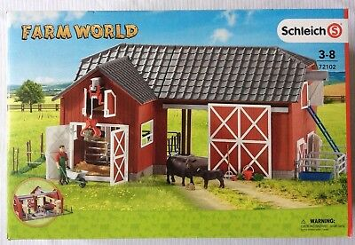 Schleich 72102 Farm World Large Red Barn with Animals & Accessories Toy Playset
