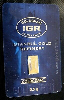1/2g .5 gram GOLD IGR Bar numbered certified in assay $0 Ship w/track
