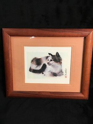 Calico Cat Painting Japanese Artist Signed Frame and Matted