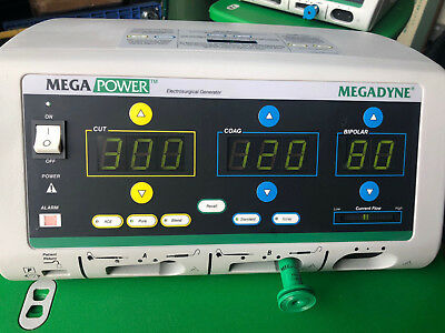 Megadyne Mega Power 1000 Electrosurgical Unit with Roller Cart and Foot Pedals